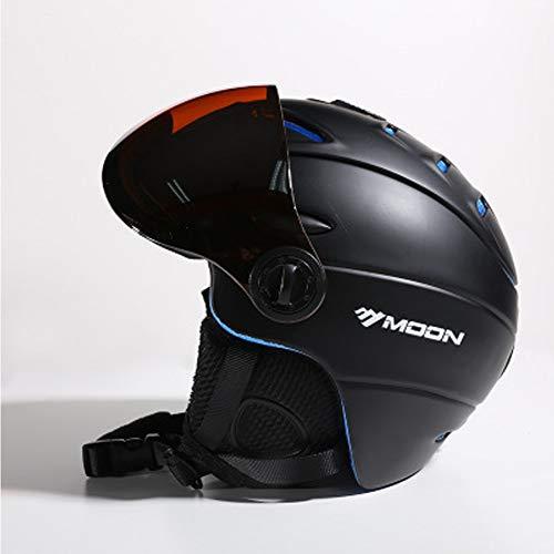 Casco protettivo per casco da sci – Casco monoblocco con occhiali – Casco da sci per uomo e donna – Nero/Bianco/Blu/Rosso, Nero, L