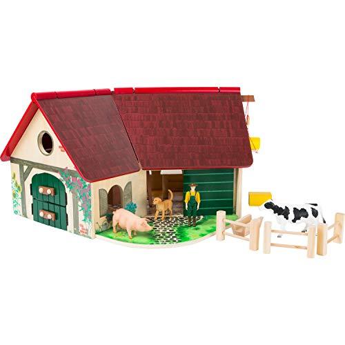 Woodfriends Bauernhof aus FSC® 100{3039574c207feb65b5d115c0c79f5a888240bd9a2dc3999fd3de2cc9f95a4746}-zertifiziertem Holz, mit aufklappbarem Dach, Farm für Kinder ab 3 Jahren mit Zubehör