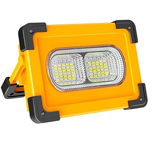 Faro Luce LED Portatile 60W, NATPOW LED Lampada da Lavoro Ricaricabile Impermeabile 3 Modalità Regolabili Faretto LED da esterno per cantiere campeggio