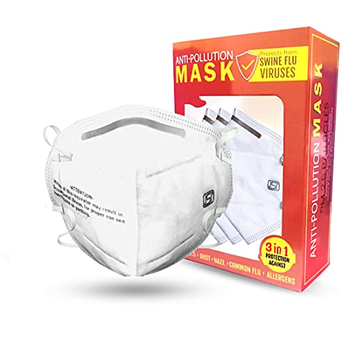 NOYMI Particulate Disposable Respirator Mask; Anti Pollution Dust Masks for Sanding; Construction; Grinding; Drywall; Household Dust DOUBLE MASK TECHNOLOGY (3 Packs-White)