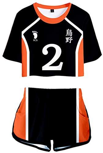 Haikyuu to The TOP Cosplay Trainingsanzug Sommer Tops + Sport Kurze T-Shirt Shorts Tracksuit Sportswear-Sets für Damen (C, 2XS)