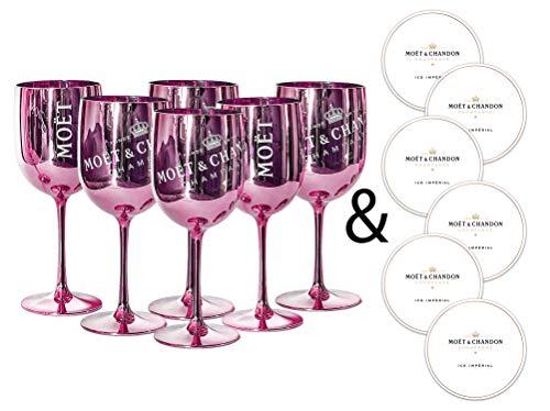 Moët & Chandon Ice Impérial Champagner & Prosecco Acryl Gläser Becher mit einem Set Papieruntersetzer rose x6