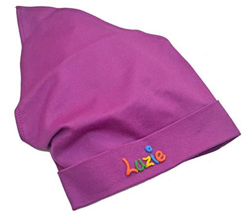Kopftuch Lila mit Namen Größe S oder M Sonnenschutz Babymütze Kinderkopftuch für Mädchen Babys Kleinkinder Mädchenkopftuch