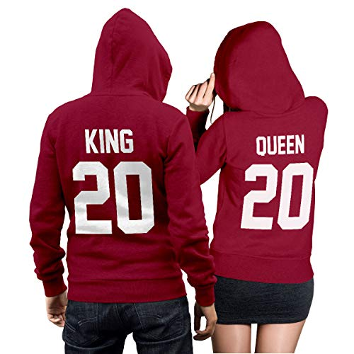 King Queen + Wunschnummer Set 2 Hoodies Pullover Pulli Liebe Love Pärchen Couple Cherry Red (King Gr. M + Queen Gr. S)