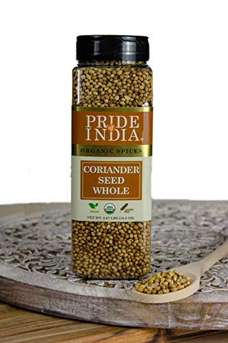Pride Of India - Biologisch korianderzaad heel - 298 g (10 oz) kleine dubbele zeefpot - Authentieke Indiase culinaire kruiden - Beste voor chutney, augurken en ovenschotels - Uitstekende prijs-kwaliteitverhouding