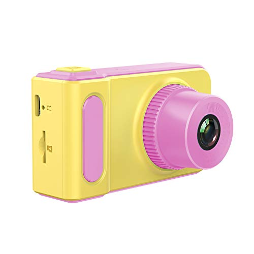 Cámara Digital para niños, cámara de vídeo HD para niños, Pantalla a Color de 2,0 Pulgadas, 1200 megapíxeles, 1080p, cámara de vídeo con Tarjeta de Memoria de 16 GB y Cable USB (Rosa y Amarill