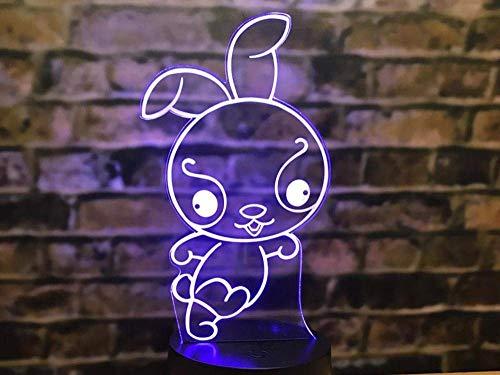 Nachtlampje, 3D-nachtlampje, Chinese sterrenbeeld-illusietafel door verandering van de mollenmuis konijntjes en varken, dier