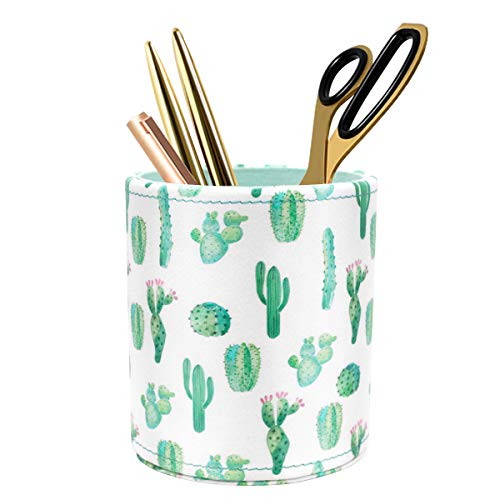 WAVEYU Pen Holder, Pencil Cup Desk for Women Girls, Luxury Makeup Brush Holder Large Pu Leather Multi-Functional Organizer Cup, Gift for Office, Classroom, Home, Cactus