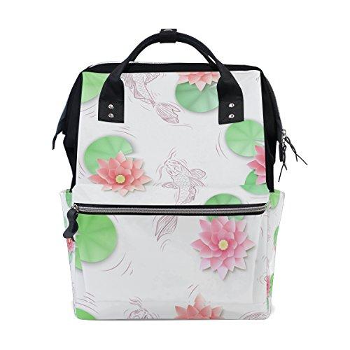 tizorax Koi Karpfen und Lotus Papier Blumen Windel Rucksack Große Kapazität Baby-Bag Multifunktions-Wickeltaschen Mom Rucksack Reisen für Baby Care