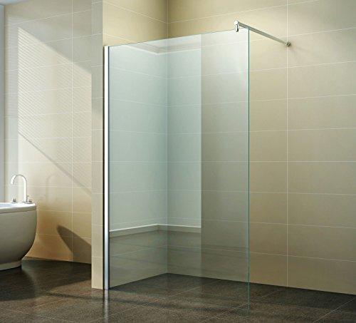 Walk-in Dusche Duschabtrennung Klarglas 10mm Duschtrennwand Nanobeschichtung Lotus Duschwand freistehend aus Glas für maximale Flexibilität, Freiraum & Komfort in ihrem Badezimmer ESG, Breite:140 cm