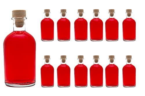 casavetro Tapón de Corcho Transparente Botellas de Vidrio vacías 250 ml - Tapas de...