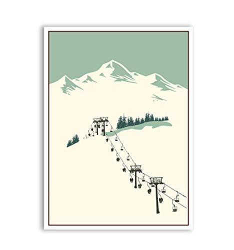 JCYMC Puzzle 1000 Pezzi Sport Invernali Sci Arte Poster da Viaggio Vintage Sci nella Neve Montagna Poster per Adulti Giochi per Bambini Giocattoli Educativi Kp29Cy