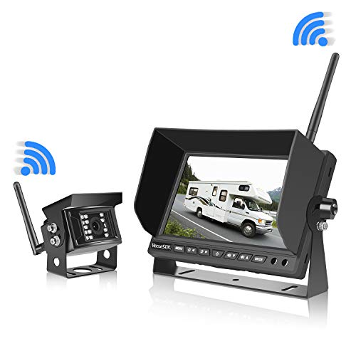 """Digital Wireless Backup Camera Kit for RV Truck Travel Trailer Tractor Forklift Parking Reversing Safety, 7"""" Car Wireless Monitor with Super Night Vision Waterproof Wireless Rearview Backup Camera backup Cameras Electronics Features Vehicle"""