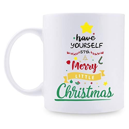 57 regalos de cumpleaños para mujeres – 57 para mujeres, regalos de cumpleaños de 57 años, taza de Papá Noel, taza de árbol de Navidad de 11 onzas para fiestas, celebraciones, reuniones