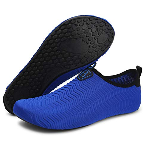 Barerun Water Sports Shoes Barefoot Quick-Dry Aqua Yoga Socks Slip-on for Men Women Blue 10.5-11 M US Women / 8-9 M US Men