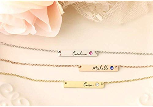 Bar Necklace Personalized, Sterling Silver Custom Engraved Name Necklace with Birthstone Charm Horizontal Pendant Gift for Women, Men