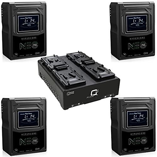 Core SWX 4X Hypercore NEO-150S 147Wh 14.8V 9.9Ah V-Mount Mini Li-Ion Battery Bundle with FLEET-Q4S Four-Position V-Mount Charger