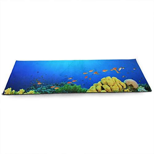 NA Sea Fish Depths Aquarium Natuur Kleuren Planten Koraal Algen Zon Yoga Mat met Gratis Yoga Mesh Bag Milieuvriendelijke Anti-slip Oefening Matten voor Pilates.