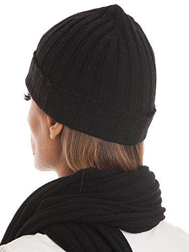 DALLE PIANE CASHMERE - Sciarpa e cappello in misto cashmere - Uomo/Donna, Colore: Nero, Taglia unica