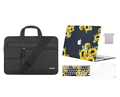 MOSISO Plastic Sunflower Hard Case & Laptop Briefcase Shoulder Bag Compatible with MacBook Air 13 (A1369 & A1466, Older Version 2010-2017 Release), Black