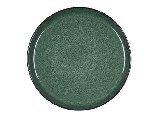 BITZ Teller, Speiseteller, Essteller aus Steinzeug, 27 cm im Durchmesser, schwarz/grün