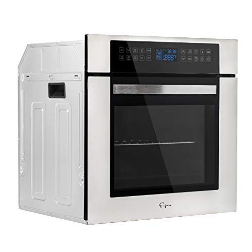 Empava 24 Inch Electric Single Wall Oven 10 Cooking Functions Deluxe 360° ROTISSERIE with Sensitive Touch Control in Stainless Steel