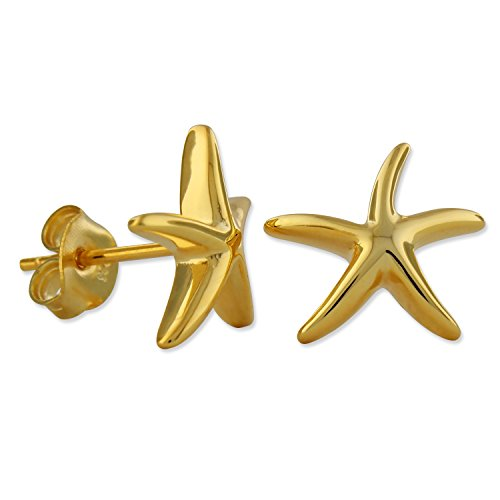 Sterling Silver with Yellow Gold Tone Overlay Starfish Stud Earrings