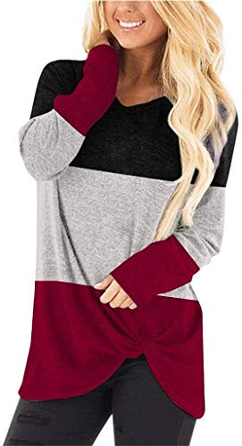 WSSCKT Suéteres Casuales de Manga Larga con Cuello en V para Mujer, túnicas Ajustadas, Camisetas con Nudo Torcido, Camisetas Sueltas, Ligeras (Color : Red, Size : Small)