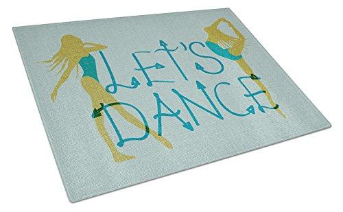 """Carolines Treasures Schneidebrett mit englischer Aufschrift """"Let's Dance"""", aus Leinen, Blaugrün, groß, mehrfarbig"""