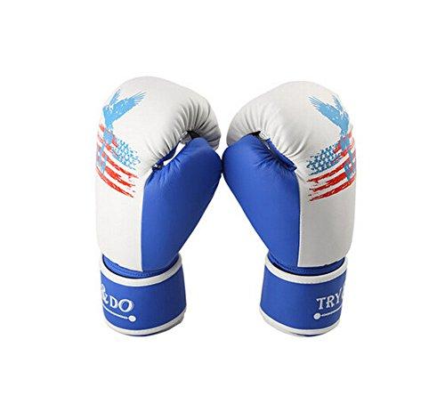 BLANCHO BEDDING 12 oz Refroidir d'Eagle la Formation des Adultes Gants de Boxe pour Kickboxing Sparring Muay Thai, Blanc Bleu