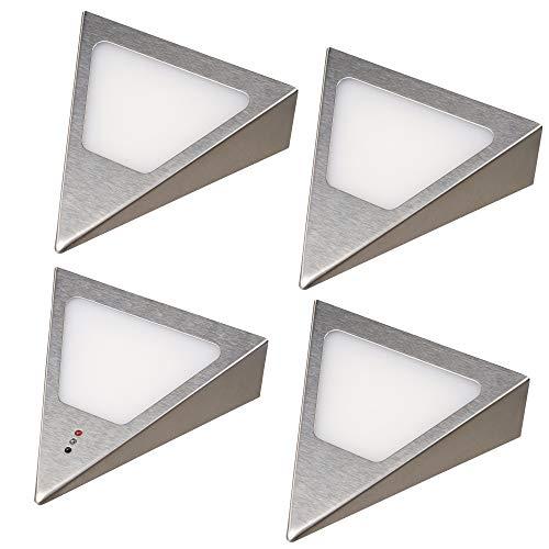 kalb | LED Unterbauleuchten Dreieck mit Sensor - Dimmer Einbaustrahler Einbauspot Edelstahl gebürstet, Auswahl:4er Set warmweiss
