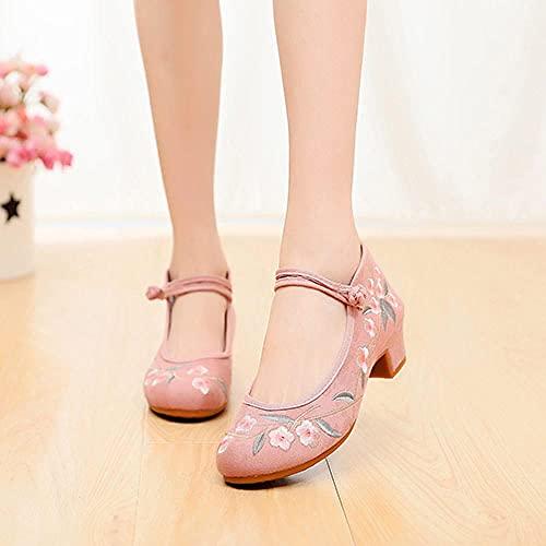 Tluhepa Bordado Flores Bordadas Mujeres Denim Studded Heel Shoes Spetep Hebillas Lienzo Bombas para Damas Old Beijing Shoes (Color : Model 1 Pink, Size : 37 EU)