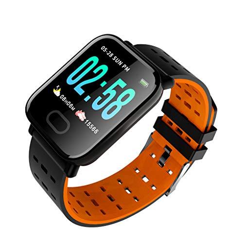 1,3-Zoll-OLED-Bildschirm-wasserdichte Uhr-Blutdruck-Pulswasserdicht Herzfrequenz Call Reminder Armbanduhr, Schwarz Orange beobachten