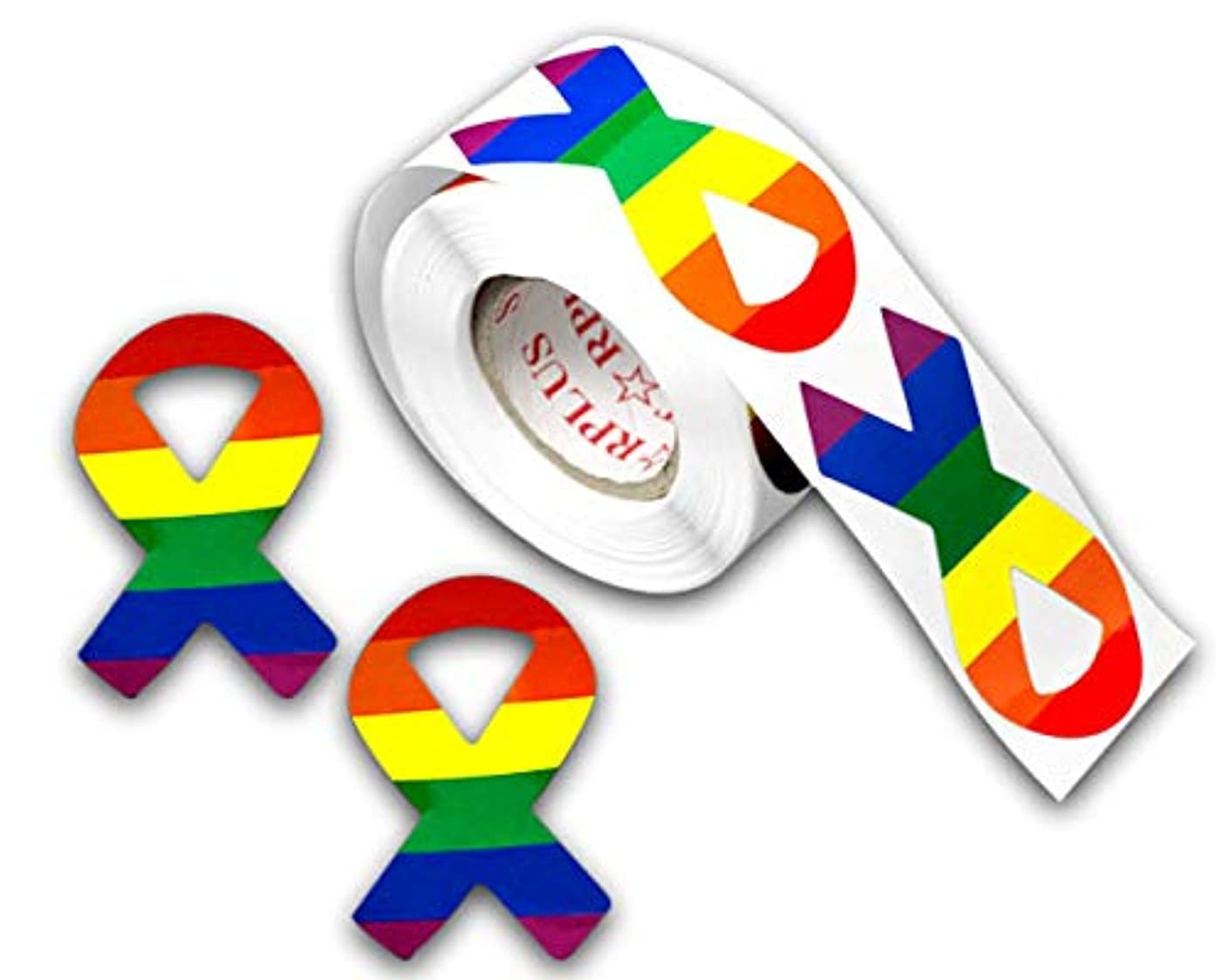 250 Gay Pride Rainbow Ribobn Shaped Stickers on a Roll - Ribbon Shaped (250 Stickers) - Support The LGBT Cause
