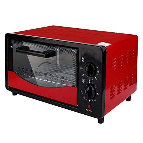 XBSXP Horno eléctrico doméstico Multifuncional de 12L, Calentamiento hacia Arriba y hacia Abajo, Puerta a Prueba de explosiones de Tres Capas, 800w, Rojo