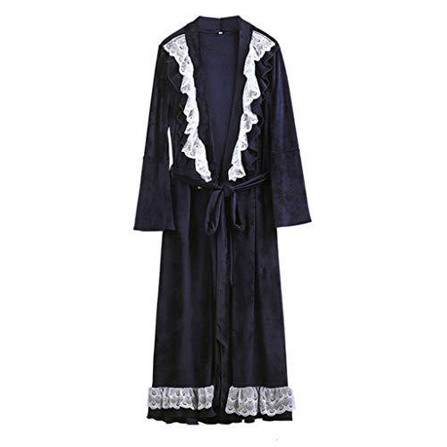 TJLSS Robas de Ropa de Dormir de Las Mujeres Gruesa tímida de Terciopelo Pijamas Invierno Ducha SPA Noche Bathrobes Dormir camisón (Color : B, Size : Large)
