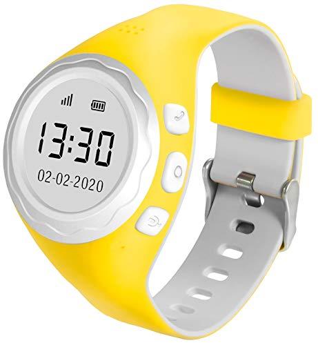 Pingonaut Kidswatch 2020 Edition – Kinderuhr mit GPS-Tracker-App, Telefonfunktion, Softwareentwicklung & Hosting in Deutschland, SIM-Karte inklusive, Gelb