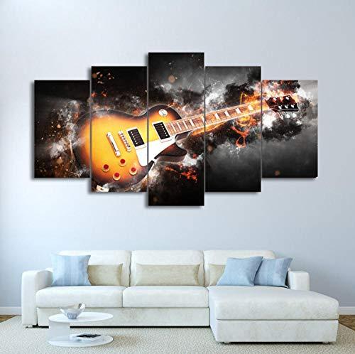 AHJJK Leinwandbilder Deko Bilder XL - 150 x 80 cm - Gelbe Gitarre In Flammen, Leinwanddrucke Wandbilder Wohnzimmer Wohnung Deko Kunstdrucke 5 TLG Rahmen - Fertig zum Aufhängen