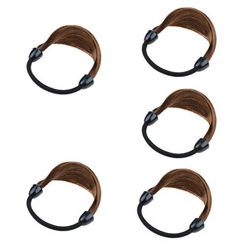 chiwanji 5x Dames Filles Porte-queue De Cheval En Fibre Synthétique Porte-queue De Cheval Anneau De Cheveux Cravate - marron