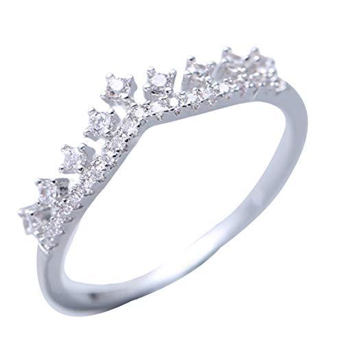 Pumprout Anillo de Dedo con Corona de circonita de Ley 925 Real, joyería de Plata apilable para Mujer, Bodas