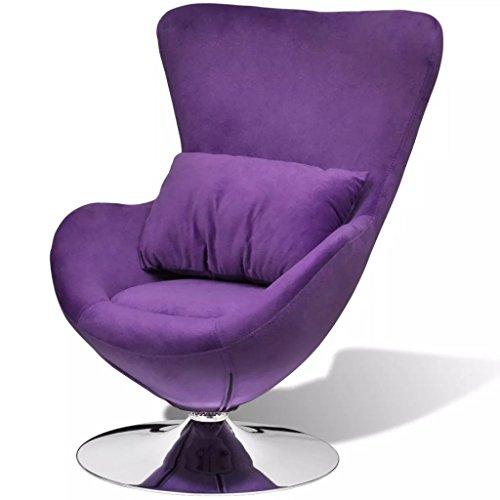Nishore Sillón en Forma de Huevo Mecedoras de Salón Girar Libremente 360 Grados Púrpura y Plata 64 x 64 x 86 cm