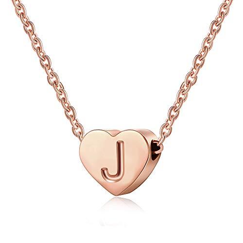 AFSTALR Collana girocollo da donna con iniziale a forma di cuore e lettera iniziale dell'alfabeto, in oro rosa e 18ct rosa oro, colore: J, cod. NK-heart-rose-J