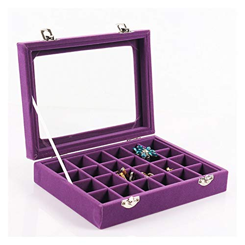 qazwsx Bandeja Titular Pendientes Estuche De Almacenamiento,Caja Organizadora De Exhibición De Anillo De Joyería De Vidrio De Terciopelo De Rejilla 24 (Color : Purple)