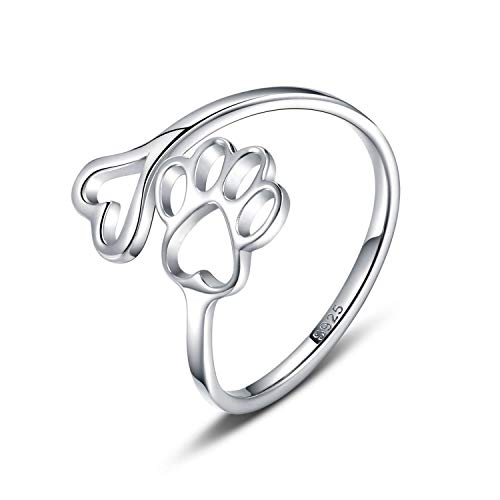 Puppy Pet Lovers Paw Print Ring Heart 925 Sterling Silver Adjustable Ring Pet Animal Jewelry Creative Pierced Love Dog Cat Claw Ring Pet Loving Friend Families Gifts (Silver heart paw ring)