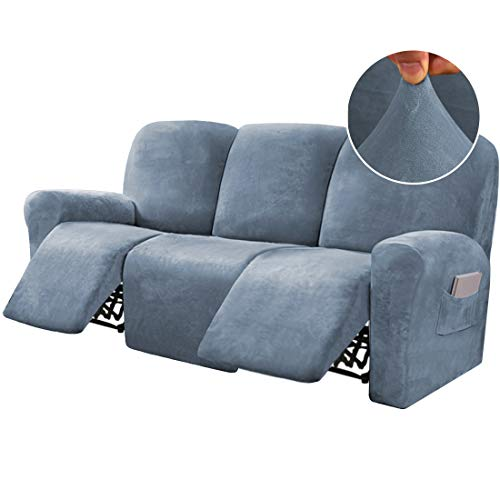 8-Pieces Recliner Sofa Covers Velvet Stretch Reclining Couch Covers for 3 Cushion Sofa Slipcovers Furniture Covers Form Fit Customized Style Thick Soft Washable, Stone Blue