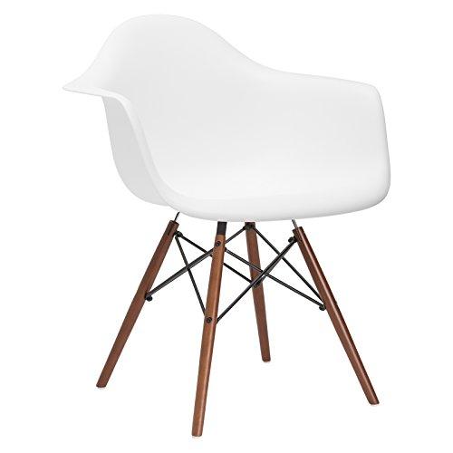 Poly and Bark Vortex Arm Chair Walnut Leg, White