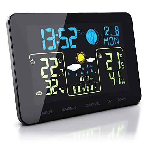 CSL - Funk Wetterstation mit Farbdisplay und Außensensor - Innen und Außentemperatur - Touch Buttons - Barometer mit Luftdruckhöhenausgleich - Frostalarm - 2 Weckalarme - LCD Display