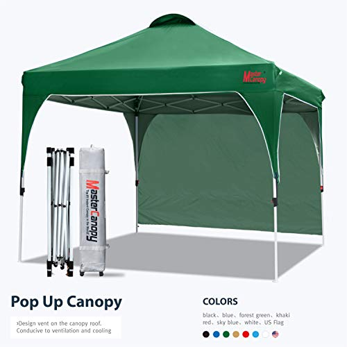 MASTERCANOPY Patio Pop Up Instant shelter Beach Canopy Better Air Circulation Canopy with Wheeled Bag (6.6x6.6 ft, Khaki)