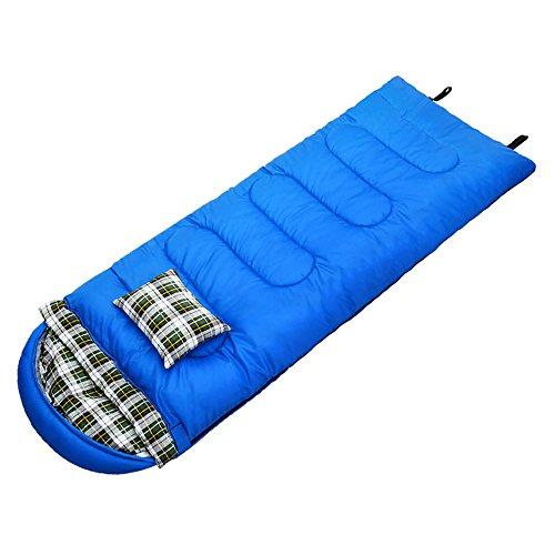 QFFL shuidai Enveloppe sac de couchage / avec oreiller / plein air / idéal pour 4 saisons voyage camping randonnée sac de couchage rectangulaire (215 * 70cm) ( taille : Blue-2.5KG )