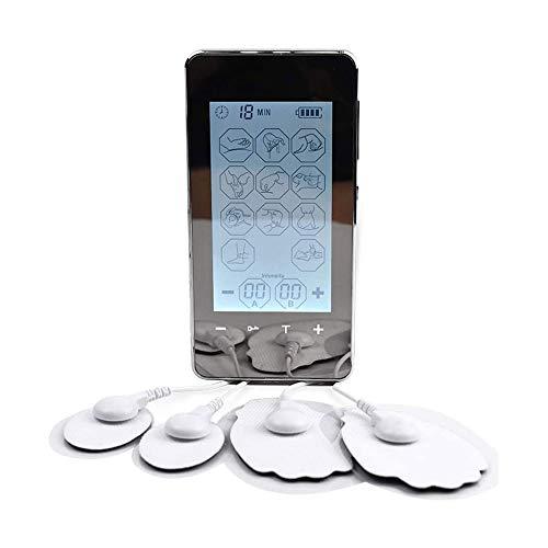 HUIXINLIANG 2 Canales TENS EMS Unidad Estimulador Muscular para Alivio del Dolor, Máquina de masajeador de Pulso eléctrico Recargable de 12 Modos con diseño LCD Grande, 4 Almohadillas de electrodos
